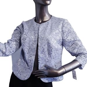 Alex Evenings Blue Sequin and Lace Jacket  Size 6